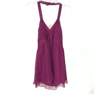 NWT Express Purple Pure Silk Jeweled Party Top